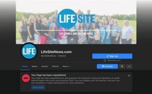 BREAKING: Facebook permanently removes LifeSiteNews' page